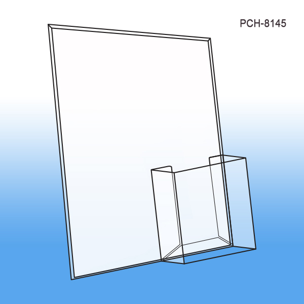 Easel Sign Holders with Brochure Pocket - Clear Plastic   Clip Strip ...