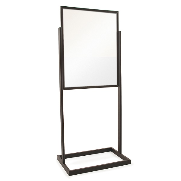 Floor bulletin frame sign holder with square tubing and for Floor banner
