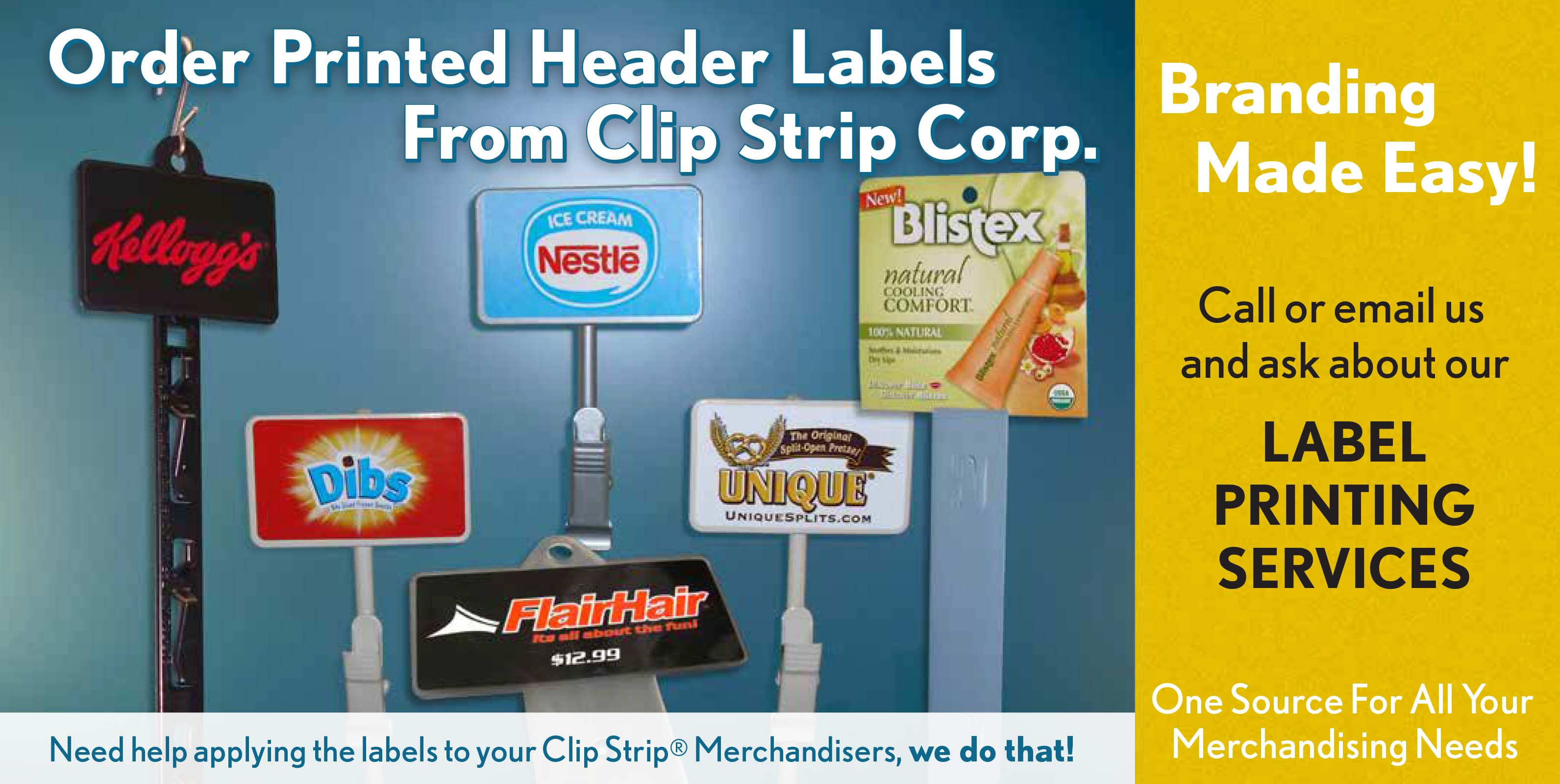 Printed Header Labels for Clip Strip® Merchandisers