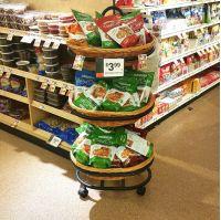 floor grocery display, 3 wicker baskets, on Wheels, WBFD-50-3