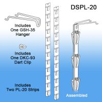 Double sided plastic clip strip, DSPL-20, product merchandising