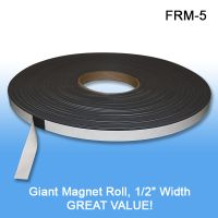 """Peel & Stick 1/2"""" Wide x 1/16"""" Thick x 5"""" Long sliced Magnet Roll, FRM-5"""