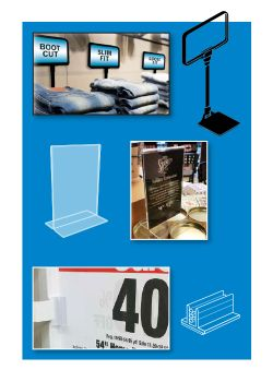 Sign Holders Retail POP Signage Hardware Ceiling Wall Shelf - Restaurant table top sign holders