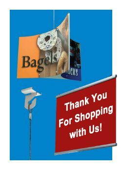 ceiling sign holders, visual communications, hooks, chains, banners, mobiles