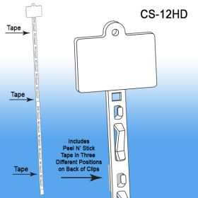 Clip Strip® Merchandising Strip, w/ Tape and Header, CS-12HD