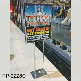 slide in poster floor banner stand chrome, PP-2228