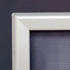 1.25 silver corner view of snap frame