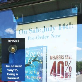 suction cup for window with hook to hold sign, 70158H