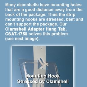 Hang Tab for Clam Shell packages on clip strips, CSAT-1750