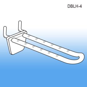 "4"" Double-Loop Plastic Pegboard-Slatwall Hook, DBLH-4"