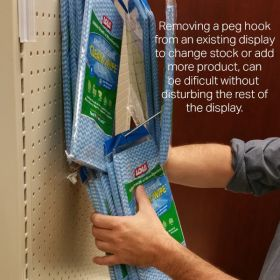 EBH-8, easy remove and restock pegboard hook