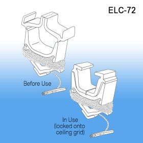 ceiling grid clip with 72 inch cord, ELC-72