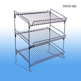 Wire Shelf Countertop Display Rack, with 3 Tiers/Shelves, Retail Product Merchandising, SWCD-320