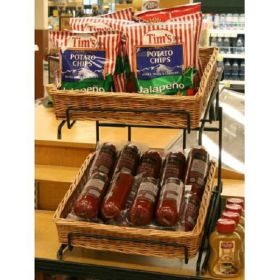 wicker basket style countertop display, WBCD-220, Clip Strip Corp.