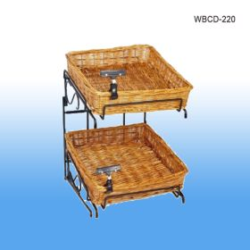 Wicker Basket Counter Display, 2 Baskets, Product merchandising, WBCD-220