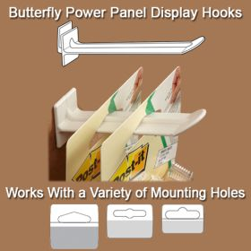 "Corrugated Power Panel Butterfly Display Hook, White, 7"" long, BFH-327"