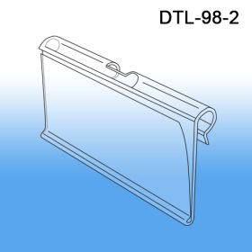 data and UPC label holder, DTL-98-2, fits on standard sized T-Scan end of metal display and peg hooks or wire baskets