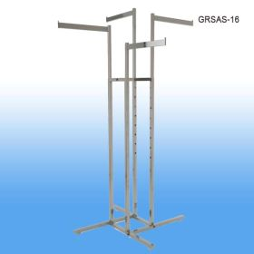 Garment Rack with 4 Straight Arms and Square Tubing, Chrome, GRSAS-16