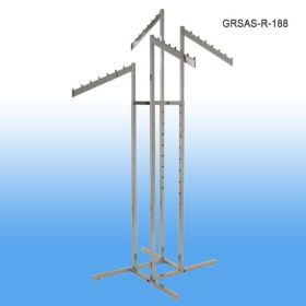 "4 way garment rack, chrome, slanted 18"" arms have 8 balls each, adjustable height 48"" to 72"" tall, GRSAS-R-188, square and rectangular tubes"