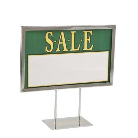 "11"" x 7"" Chrome Metal Sign Frame on 4"" Stems and a 5"" Flat Base, PCSF-711-4"