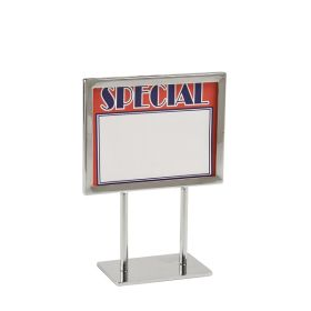 "7"" x 5.5"" Chrome Sign Frame on 4"" Stems with a 5"" Base, PCSF-57-4"