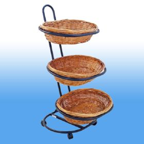 wicker basket floor display, 3 baskets on 3 levels, product merchandising, WBFD-50-3