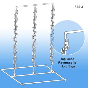 Off-White 3 Wand, Free Standing Metal Clip Strip® Snack Rack, FSS-3