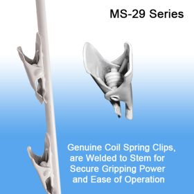 Genuine coil spring clips, welded to stem for secure gripping power and ease of operation, hooks will not shift over time