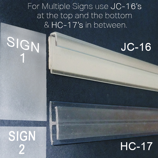 J Channel Sign Holder Wall Mount Signage Clip Strip 174