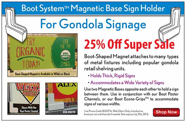 gondola sign holder | boot system | clip strip corp