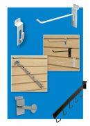 Metal Slatwall display hooks, chrome, black and white, clip strip corp.