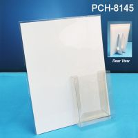 "Letterhead sized Easel Back Sign Holder with 4"" x 5"" Fold, Peel & Stick pocket brochure holder, PCH-8145"
