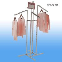 Garment Rack with 4 Slanted Arms and Square Tubing, 8 balls per arm, GRSAS-188