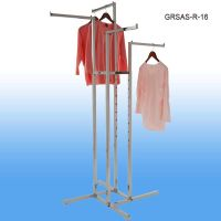 GRSAS-16, Garment Rack with 4 Straight Arms and Square and Rectangular Tubing, Floor Merchandising Display, Clip Strip Corp.