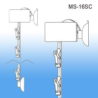 metal clip strip with a suction cup for glass surfaces, 6 hooks, MS-16SC