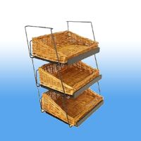 "18"" tall, with 3 tiered wicker baskets, countertop display, store supply, WBCD-318"