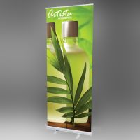 "Banner Stand, Retractable, with 10 mil Custom Printed Vinyl Sign, 33"" x 80"", RBS-P-3380"