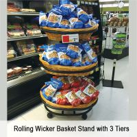 Rolling Wicker Basket Floor Display, with Casters, WBFD-50-3