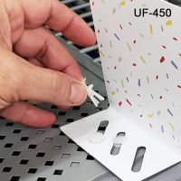 Fastener for gondola metal shelf perforations, regular profile, UF-451