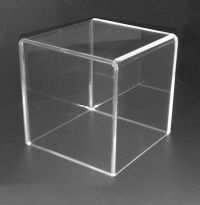 "Clear, display cube, product merchandising, 6"" square, DCM-6"