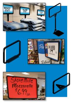 Metal Sign Holder Frames, with a Wedge or Stem, Clip Strip Corp.