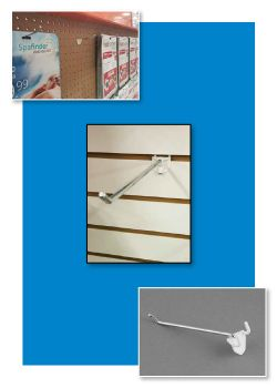 Easy Remove Back Metal Pegboard and Slatwall Hooks