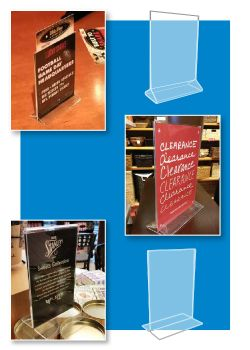 """T-Style"" Acrylic Signholders, Clip Strip Corp."