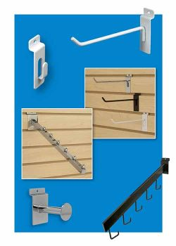 Metal Slatwall display hooks, chrome, black and white, clip strip corp.