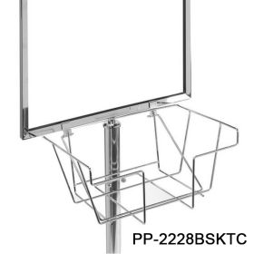 entranceway banner stand with attached basket, PP-2228BSKTC