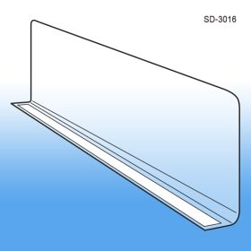 "3"" x 15-9/16"" Adhesive Econo-Line Shelf Divider, Clear PVC, SD-3016"