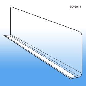 "3"" x 15.5625"" Adhesive Econo-Line Shelf Divider, Clear PVC, SD-3016"