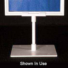 White sign frame base, center stem, SHB-002