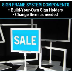 "SHA-004, 8"" stem for sign holder frame, retail counter signage"