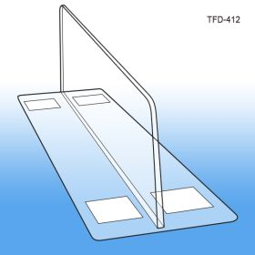 "3"" HIGH x 12"" LONG Thermo Formed Shelf Divider, TFD-412, 3"" wide base"